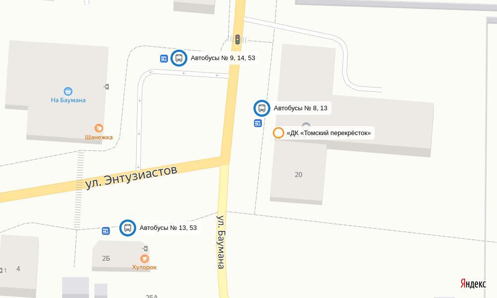 Карта проезда к «ДК «Томский перекрёсток»